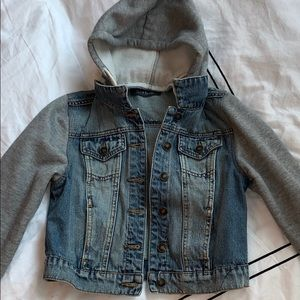 Grey and Blue Cropped Jean Jacket